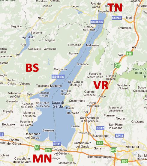 Cartina Lago Di Garda E Dintorni.Lago Di Garda Sponda Bresciana Localita Lago Di Garda Brescia